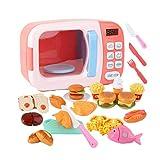 Terynbat Juguetes de microondas para niños, horno, casa de juegos para niños, juego de cocina para bebés, utensilios de cocina de simulación de sincronización eléctrica