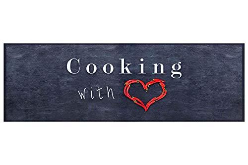 Küchenläufer Küchenteppich Teppichläufer Cooking with Love | waschbar, Größe:ca. 45 x 145 cm