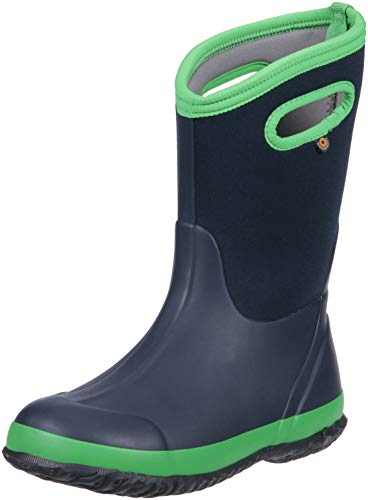 BOGS Kids' Classic High Waterproof Insulated Rubber Neoprene Snow Rain Boot, Matte Navy/Green, 12 M US Little Kid
