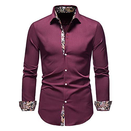 NW Camisa de manga larga para hombre de moda Slim Fit Male Social Casual Business Dress Shirt, Vino Tinto, XL