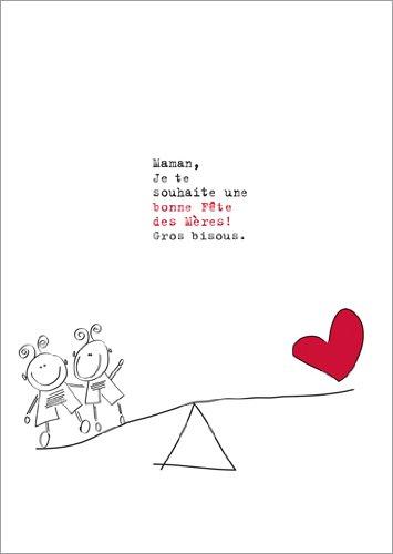 Set met 5 wenskaarten: ansichtkaart, moederdag, met kinderen op schommel: mama, ik wens u een goede moederdag. Grote kussens.