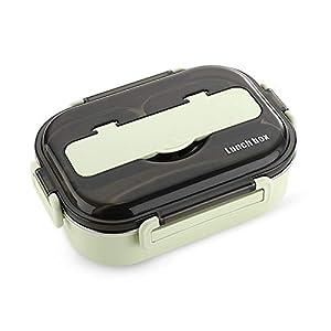 N/F Yemiany Caja Bento,Caja bento microondas,Caja bento de Acero Inoxidable con 3 Compartimentos,a Prueba de Fugas, Aislamiento y Fiambrera Anti escaldado para niños Adultos de Trabajo(Verde,1000 ml)