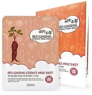 Esfolio Pure Skin Essence Mask Sheet Anti-Aging Rejuvenation Hydration RED GINSENG (Pack of 10)…