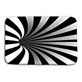 "Kitchen Floor Bath Entrance Door Mats Rug spiral vortex illusion optical art motion striped tunnel swirl geometric magic background hole effect movement executed Non Slip Bathroom Mats 23.6""x 15.7"""