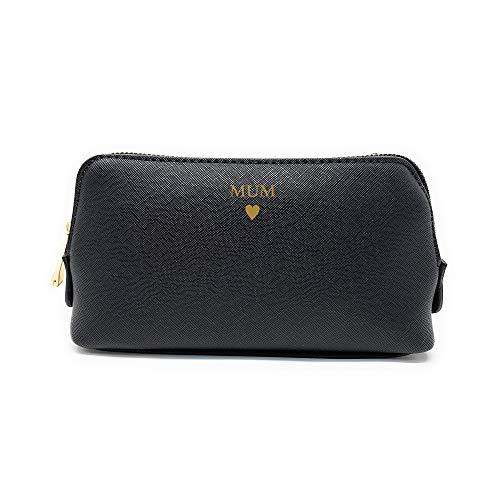 Boutique - Custodia per accessori personalizzabile, con iniziale in lamina dorata metallizzata e grazioso sacchetto per il trucco, misura L, colore: Nero