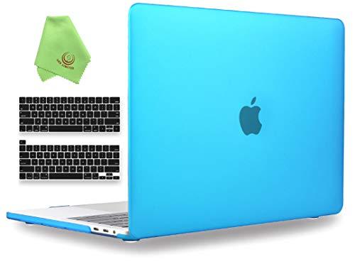 UESWILL MacBook Pro 13 inch Case 2020 2019 2018 2017 2016 Release A2338 (M1) A2289 A2251 A2159 A1989 A1706 A1708, Hard Case with Black Keyboard Cover, Aqua Blue