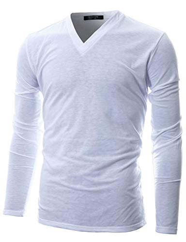 GIVON Mens Slim Fit Soft Cotton Long Sleeve Lightweight Thermal V-Neck T-Shirt/DCP043-WHITE-S