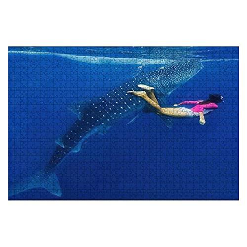 1000 piezas para niña, snorkel con tiburón ballena, rompecabezas de piezas grandes para adultos, juguete educativo para niños, juegos creativos, entretenimiento, rompecabezas de madera, decoración del