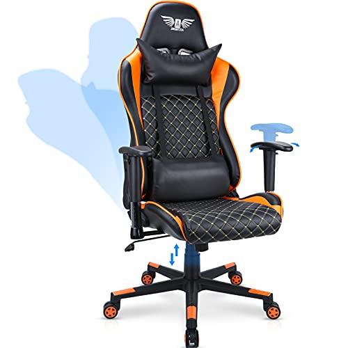 Acethrone Gaming-Stuhl ergonomischer E-Sports Stuhl Bequemer Computerstuhl Rückenlehne 165° neigbar mit Kopfstütze und Lendenkissen Gamer-Sitz Höhe & Armlehnen verstellbar 360 ° drehbarstuhl (Orange)
