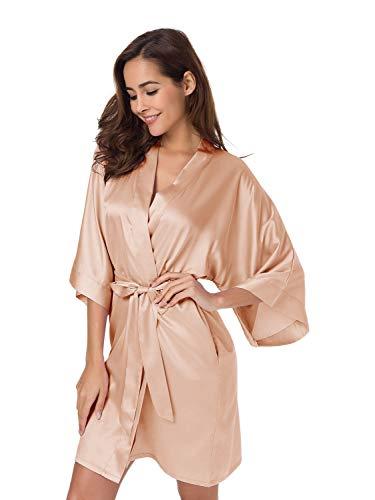 SIORO Satin Silk Kimono Bademäntel für Frauen Braut Brautjungfern Bademantel für Hochzeitsfeier Leichte sexy Nachtwäsche Kurz, Hellbraun XXL