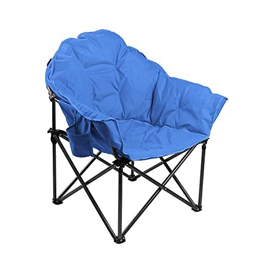 ALPHA CAMP Gepolsterter Faltbarer Campingstuhl, Klappstuhl Rund Moon Chair mit Becherhalter, Campingsessel mit Tragetasche, Ideal für Outdoor, Indoor, Balkon bis 160kg Hellblau, 97 * 76 * 88cm