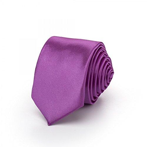 Rusty Bob Rusty Bob - Krawatte schmal/dünn 3cm-5cm für Herren [auch für Kinder/Jungen] (uni,nicht gestreift) aus Polyester glänzt wie Seide - Amethyst