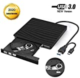 External CD DVD Drive, Type-C USB 3.0 Slim Portable CD/DVD-RW Burner Reader Low