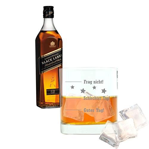 Whiskey 2er Set, Johnnie Walker Black Label, Blended Whisky, 12 Jahre, Scotch, Alkohol, Alkoholgetränk, Flasche, 40%, 700 ml, 639897, Geschenk zum Vatertag, mit graviertem Glas