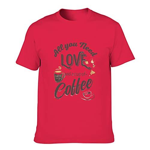 Camiseta de algodón para hombre, diseño con texto en alemán 'Kaffee ist Mein Valentín' Red1 XL