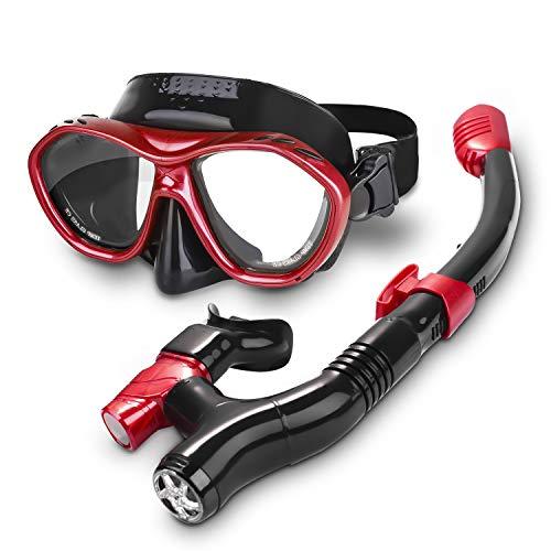 Speedsporting Trocken Schnorchelset, Anti-Fog Tauchmaske,Leichtes Atmen und Professionelle Schnorchelmaske mit Weichen Mundstück, Anti-Leck Schnorchel Set für Erwachsene (rot, Erwachsene)