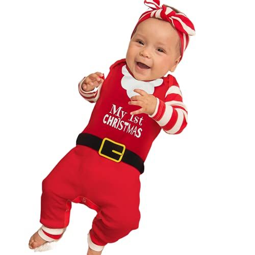 Beauace Mono para Recién Nacido Unisex Mameluco Navideño de Manga Larga Mameluco Navideño de Invierno Mameluco Navideño de Manga Larga Disfraz de Papá Noel (Rojo, 6-12 Meses)