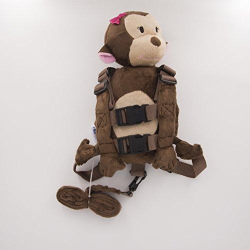 Berhapy 2 in 1 Monkey Toddler Safety Harness Backpack Children's Walking Leash Strap (Orangutan)