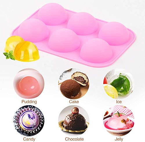 Silicone Molds For Baking Chocolate Mold 6 Holes Round Silicone Baking Mold,Half Ball Sphere Silicone Cake Mold Muffin Chocolate Cookie Baking Mould Pan (2pcs Pink)