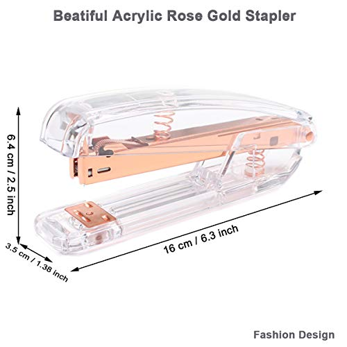 Rose Gold Desk Accessories Set - Transparent Rose Gold Acrylic Desktop Stapler with 1000 PCS Rose Gold Staples and 15 Pieces Blinder Clips for Home School Office Supplies Stationery Desk Accessory Photo #2
