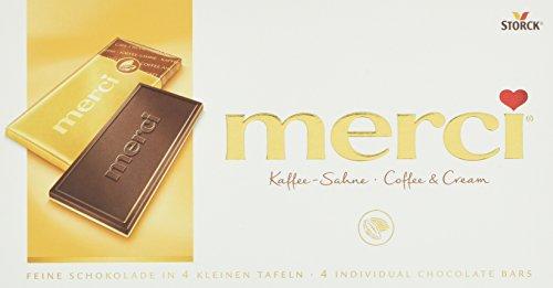 merci Tafelschokolade Kaffee-Sahne – die perfekte Selbstverwöhnung – 4 kleine, feine Täfelchen – 15er Pack (15 x 100g Packung)