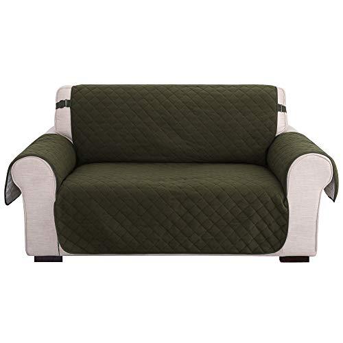 Amazon Brand - Umi Fundas para Sofa 2 Piezas Funda de cojín de protección para Mascotas Funda Cubre Ajustable Decorativa de Salon Sin Deslizante Verde Oscuro