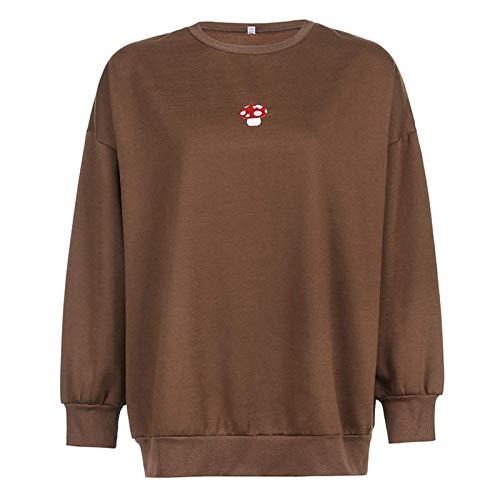 여성 롱 슬리브 버섯 스웨터 자수 후디 크루넥 루즈 오버사이즈 풀오버 프레피 후디 셔츠 탑
