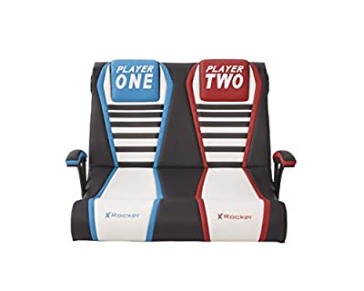 X Rocker Dual Rivals Double Floor Rocking Gaming Chair with 2.1 Audio System (Blue/Red)