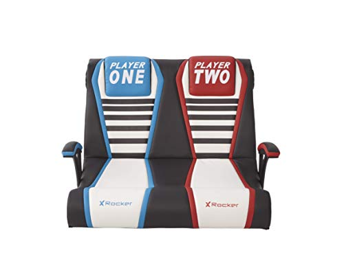 X-Rocker Dual Rivals Double-Wide 2.1 Stereo Audio Gaming Chair with Subwoofer, Duo Folding Video Gamers Two Player Seat with Arm Rests, Leather Look - Blue/Black/Red