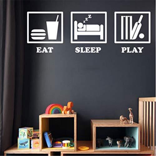 Eet Slaap Spelen Cricket Decals Muurstickers Stickers voor Kinderen Kamers Woonkamer Woonkamer Woondecoratie Mural 58x19cm