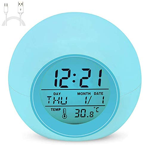 Kids Alarm Clock, The 2020 Newest Clock with Rechargeable Battery, 7 Color Changing Night Light, Snooze Touch Control Temperature for Children' Bedroom, Digital Clock for Kids Girls Boys Xmas Gifts