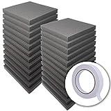 【 超大容量 24枚セット 】WhiteLeaf フラット型 ウレタンフォーム スポンジ 緩衝材 クッション材 吸音材 25cm×25cm 厚み3cm 密度26kg/m3 両面テープ付属で簡単取り付け