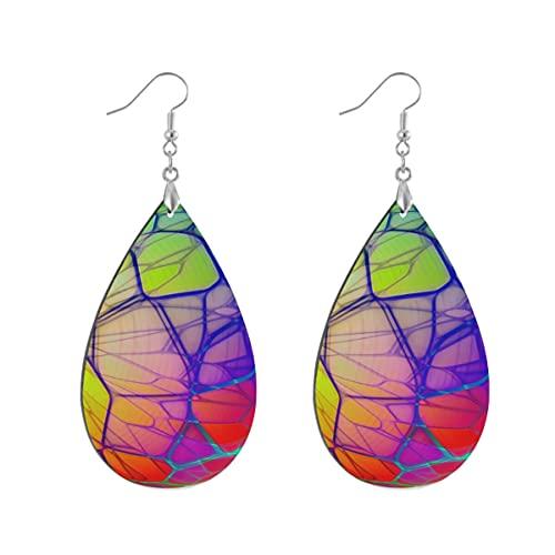 1 par de pendientes de madera con forma de gota de agua aislados esfera transparente de madera pintada pendiente gota para las mujeres, Leaf drop, Madera Cobre Plata,
