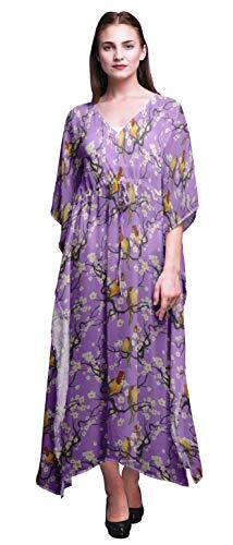 Bimba Amethyst Fish,Bird & Yacht Bird Ladies Kaftan Holiday Loungewear Maxi Dress Beach Coverup-4X-5X