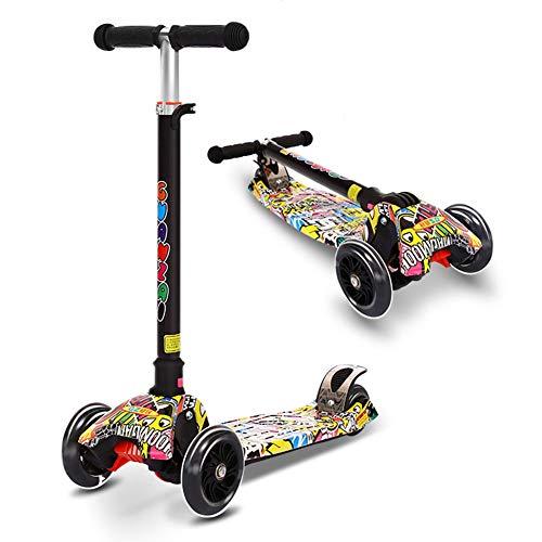 YUANLAISHINI Scooter para niños, Scooter Plegable para niños, 5 Alturas Ajustables, Flash en Las Cuatro Ruedas, Adecuado para niños de 2 a 14 años, Apoyo 100 Kg, Altura aplicable 80-150CM,A1