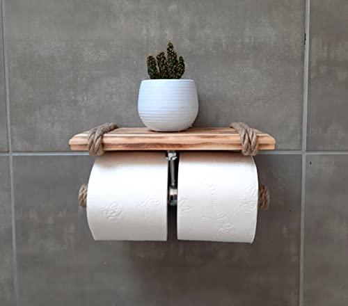 Solenzo Toilettenpapierhalter, 2 Rollen, mit Ablage – Ablage aus Holz und Seil für Telefon oder Dekoration