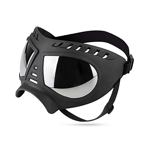 PETLESO Sonnenbrillen für Hunde UV Hundebrille Wasserdichter Augenschutz für Groß/Mittel Hund - Schwarz
