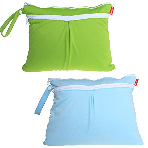 Damero 2Pack Waterproof Wet Bag, Reusable Wet Dry Bag Organizer for Travel, Beach, Diapers, Breast Pump Parts and Wet Swimsuits, Green+Blue
