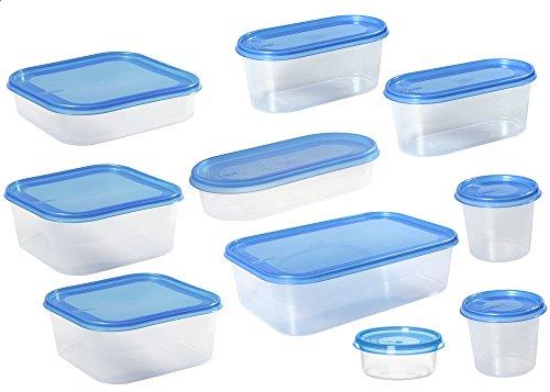 Plast Team 15980802 frischaltebox Helsinki Lot de 10 doses (Couvercle Transparent/0,15 l + 2 x 0, 3 l + 0,4 l + 2 x 0, 8 l + et 0,9 l 2 x 1, 8 l + 3 l (Bleu)
