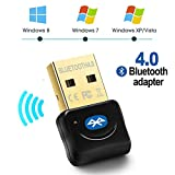 Maxesla Adaptador de Bluetooth 4.0 Bluetooth USB PC Bluetooth Transmisor y Receptor para PC con Windows XP/7/8/10/Vista, Plug and Play Compatible con Auriculares, Altavoces, Teclados, Ratónes Negro