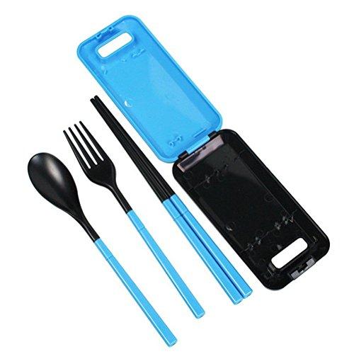 WINOMO ambiental portátil plegable Plein Air viaje cubiertos tenedor cuchara Tableware Set baquetas con funda (azul)