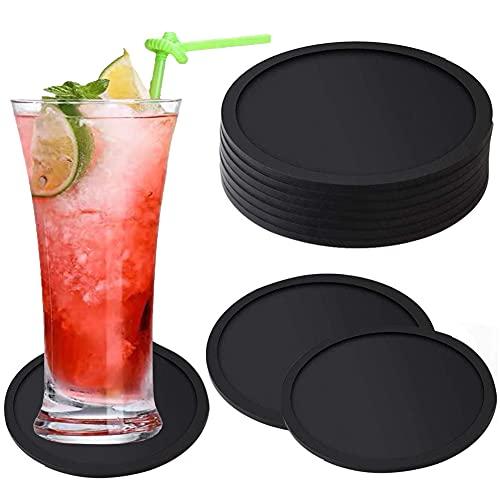 Negro Posavasos Juego De 10 Posavasos de Silicona Redondos Para Vasos, Antideslizante, Resistente al Agua y al Calor, para Bebidas, café, Cerveza