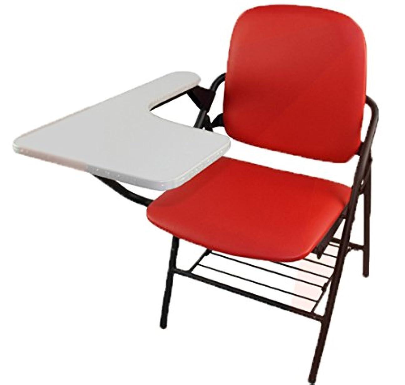 真鍮信頼テナントCOM-SHOT 【 クッション タイプ 】 テーブル 一体型 チェア 2 レッド 【 下部 収納 付き 】 折りたたみ 軽量 MI-CHBLE02-RD