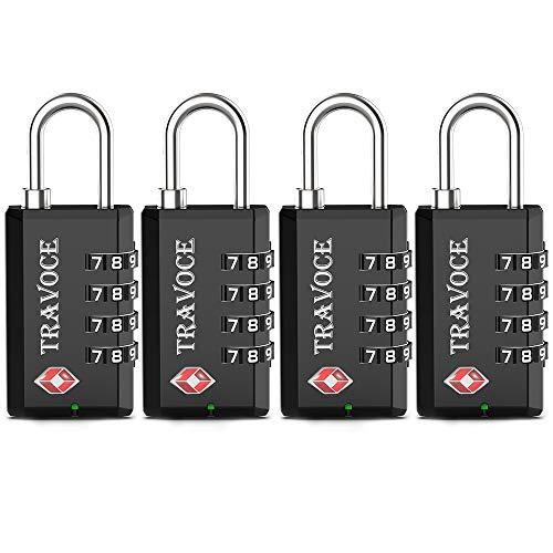 TSA Approved Luggage Locks-4 Digit Open Alert Indicator TSA Locks for Luggage-Travel Combination Locks for Suitcases& Baggage (Black 4 Pack)