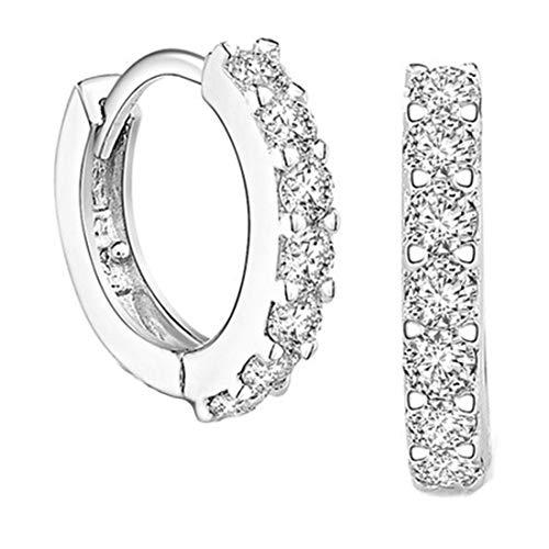 Ms.Swan Pendientes de aro pequeños con circonitas y diamantes de imitación para mujer, niña y mujer (12 mm)