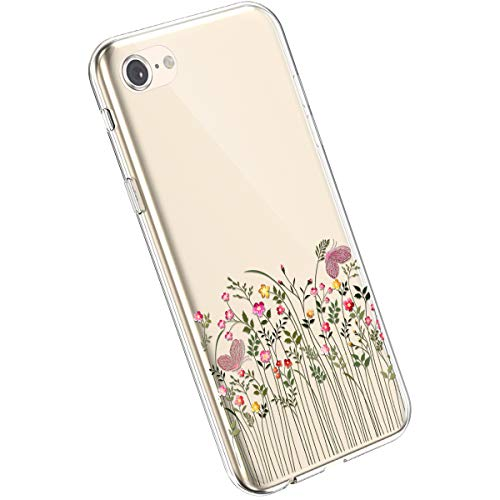 Ysimee kompatibel mit iPhone 7 /iPhone 8 Handyhülle Ultra-Transparente Felxible TPU Silikon Handyhülle Hülle mit Anti-Rutsch Kratzfest Crystal Hülle mit Muster Blumen Design, Blume -12
