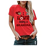 YANFANG Blusa de Camiseta con Cuello Redondo y Estampado de Amor en 3D de Manga Corta de Talla Grande