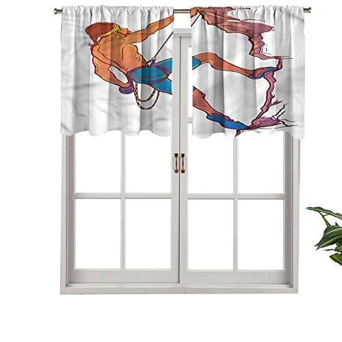 Hiiiman Curtain Valances Rod Pocket Window Curtains Rock Climber Cliff Sports, Set of 2, 54'x24' for Kitchen Window