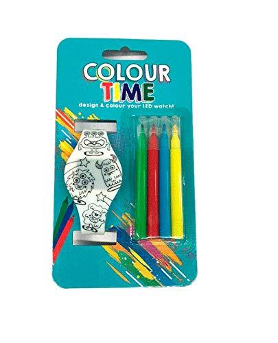 DISOK - Reloj LED para Colorear + 4 Rotuladores Unisex (Pilas Incluidas). Detalle niñ@s para Fiestas, cumpleaños, comuniones, Eventos.