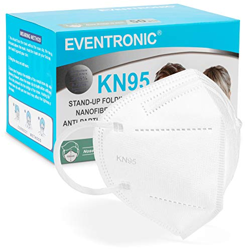 Eventronic- Mascarilla FFP2/KN95 5-Layer Protective Face Mask, CE Certified, Blanco (50pcs/Box)
